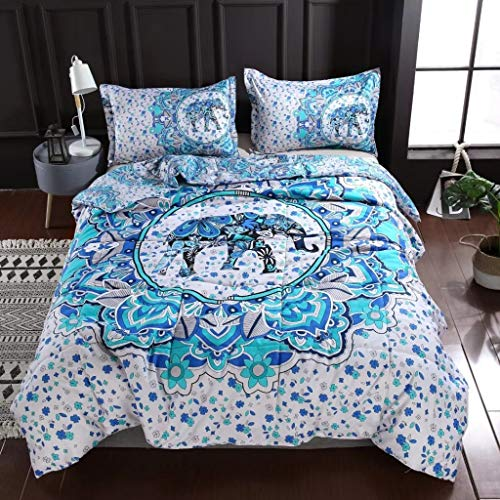 SDIII 3PC India Elephant Comforter Bohemia Microfiber Full/Queen Size Quilt Bedding Set (Full/Queen, Elephant)