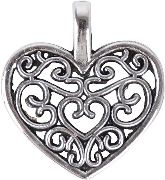 Herz Hänger Perlen silber Türdekoration Metall Herzanhänger 9 cm