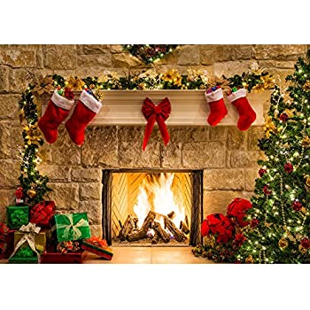 Haboke 7x5ft Soft Durable Fabric Christmas Fireplace Theme Backdrop for Photography Tree Sock Gift Decorations for Xmas Party Supplies Photo Background Pictures Banner Studio Decor Booth Props