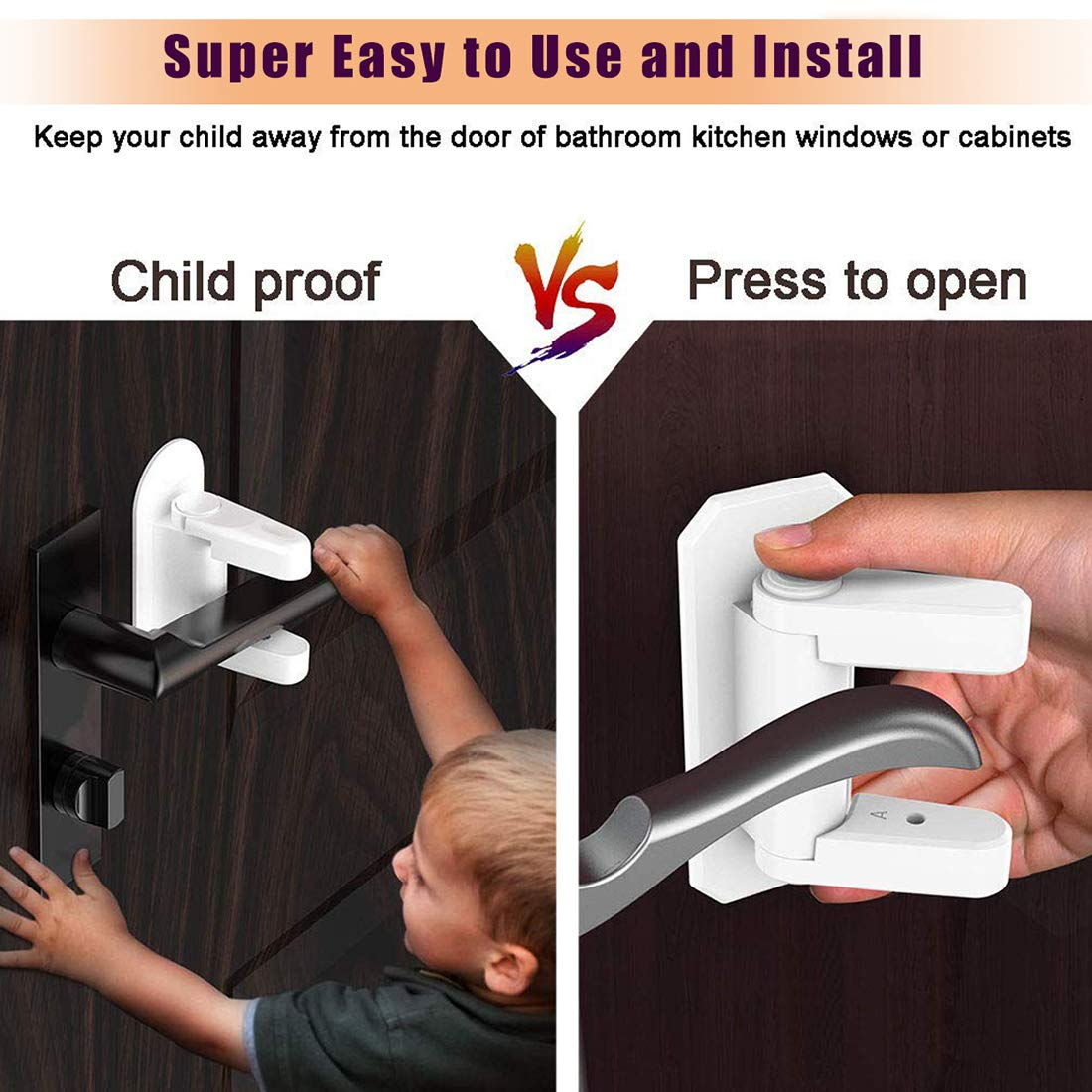 Door Lever Lock - Child/Pets Proof Door Handle Lock with 3M Adhesive - Child Safety Locks by AIRSPO (White, 8 Pack) by AIRSPO (Image #3)