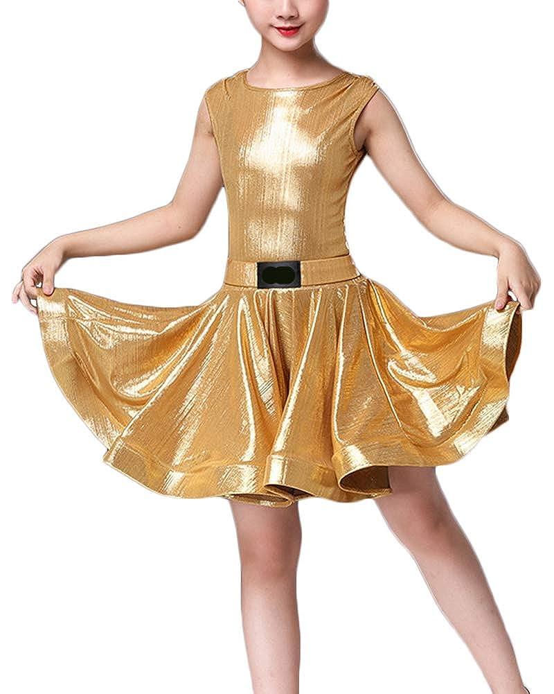 R SODIAL Vestiti da Ballo Latino delle Ragazze 100cm Vestiti da Ballo del Ballo della Sfera di Ballo del Vestito dalla Frangia Latina Blu