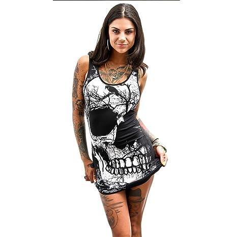 Dragon868 vestiti donna corti Casual larghi taglie forti xxxl Cranio estate  mare hiphop camicie regalo ( 7d2361d56f1