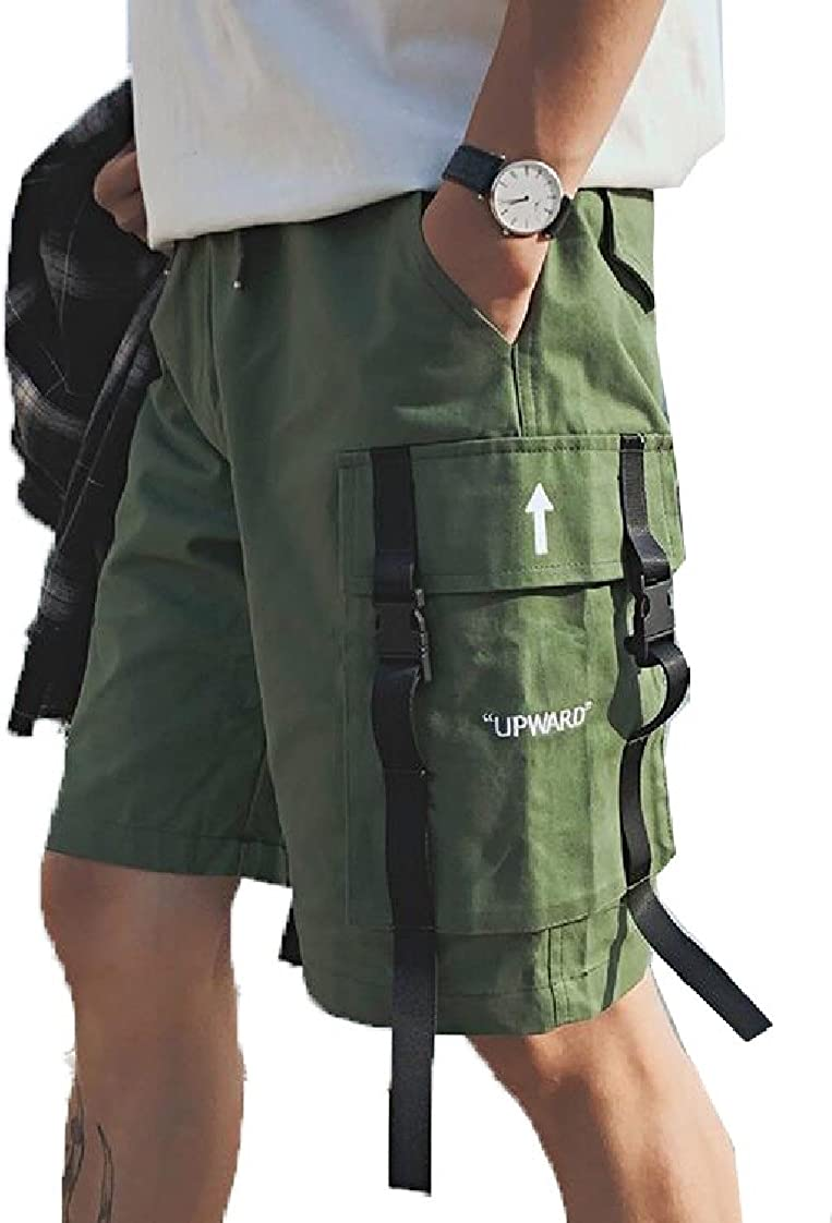 Keaac Mens Solid Walk Cargo Elastic Waist Shorts Performance Outdoor Pockets Jogger
