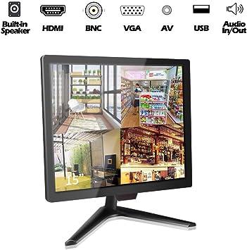 15 Pulgadas CCTV Monitor, Cocar Seguridad Monitor Pantalla, LCD Display para Sistemas Seguridad Hogar Cámara Vigilancia STB PC, Altavoz Incorporado 1024x768, BNC/VGA/HDMI/Audio/Vesa Pared Montaje: Amazon.es: Electrónica