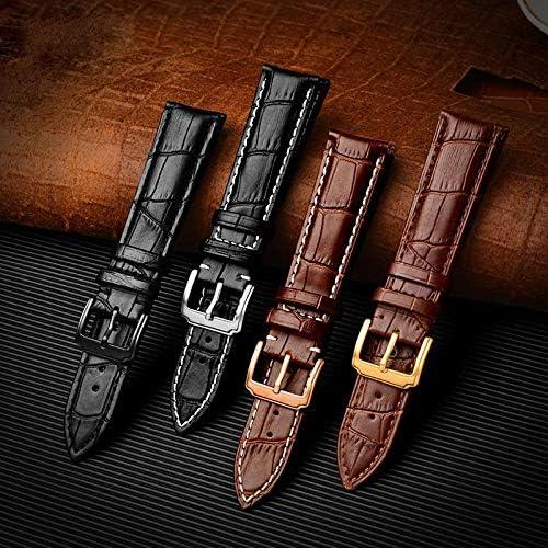 Bracelet Souple de Veau véritable Bracelet Cuir 18mm-24mm Montre Band Accessoires Wristband Gold Brown A