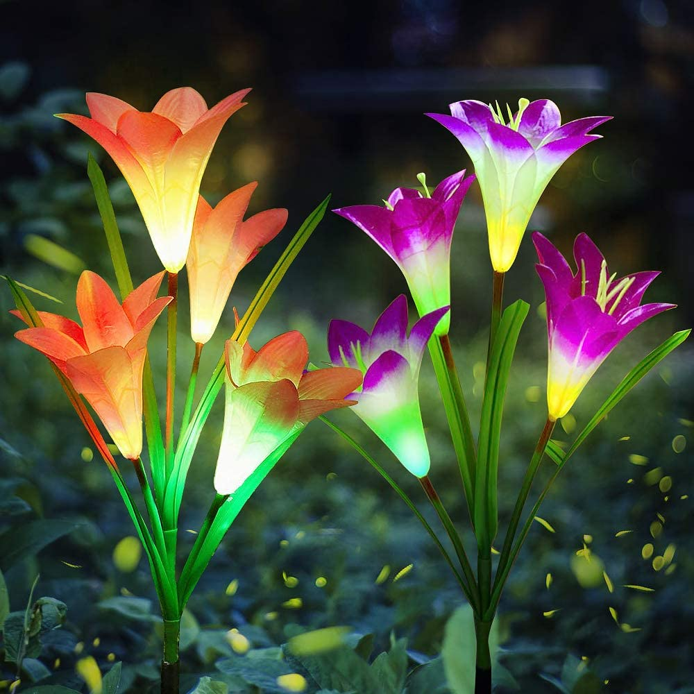 Aogist Outdoor Solar Garden Stake Lights - 2 Pack Solar Powered Lights with 8 Lily Flower, Multi-Color Changing LED Solar Decorative Lights for Garden, Patio, Backyard (Purple and Red)