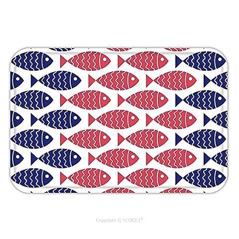 Flannel Microfiber Non-slip Rubber Backing Soft Absorbent Doormat Mat Rug Carpet Seamless Nautical Pattern With Fish Design Element For Wallpapers Baby Shower Invitation 199308140 for - Echelon Echelon Shower Locker