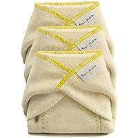 BabyKicks 3 Pack Hemparoo Fleece Prefolds, Golden Thread, X-Small