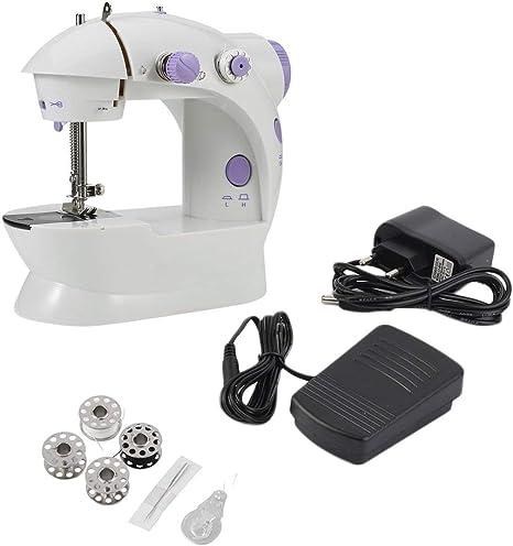 Zinniaya Mini escritorio multifuncional eléctrico del hogar de la máquina de coser con la costura reversa delantera durable del LED: Amazon.es: Hogar