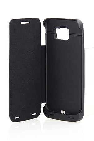 Funda Vanda® para Samsung Galaxy S6 4200 mAh con cargador externo Power Pack, with leather flip cover, negro