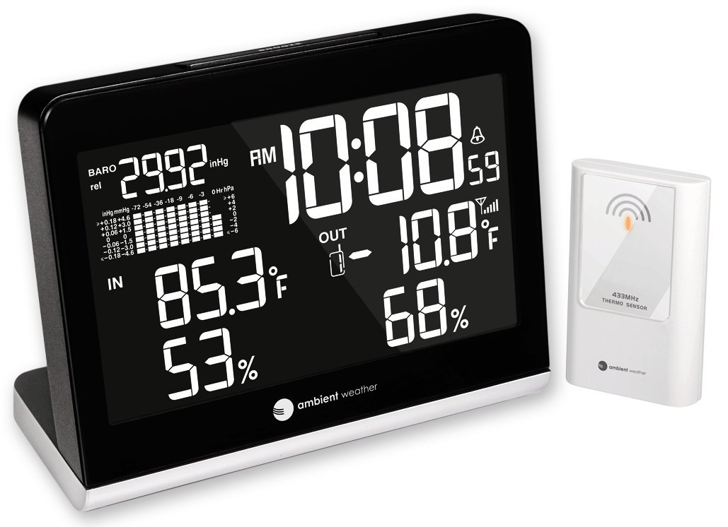 Ambient Weather WS-8600 Weather Station Clock with 256 Color Changing Wireless Temperature Humidity, and Barometer Display (Black)