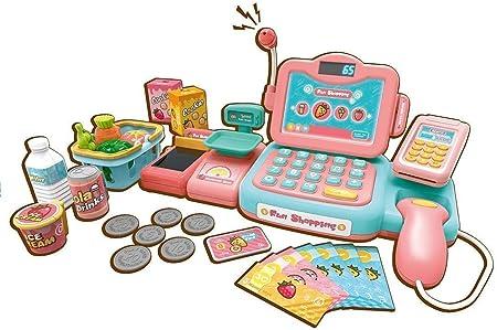 24 piezas de juguetes de la caja registradora del supermercado de los niños, juguetes de juego de simulación de educación temprana para niños, juguete de cajero de simulación de bebé (color: rosa,:
