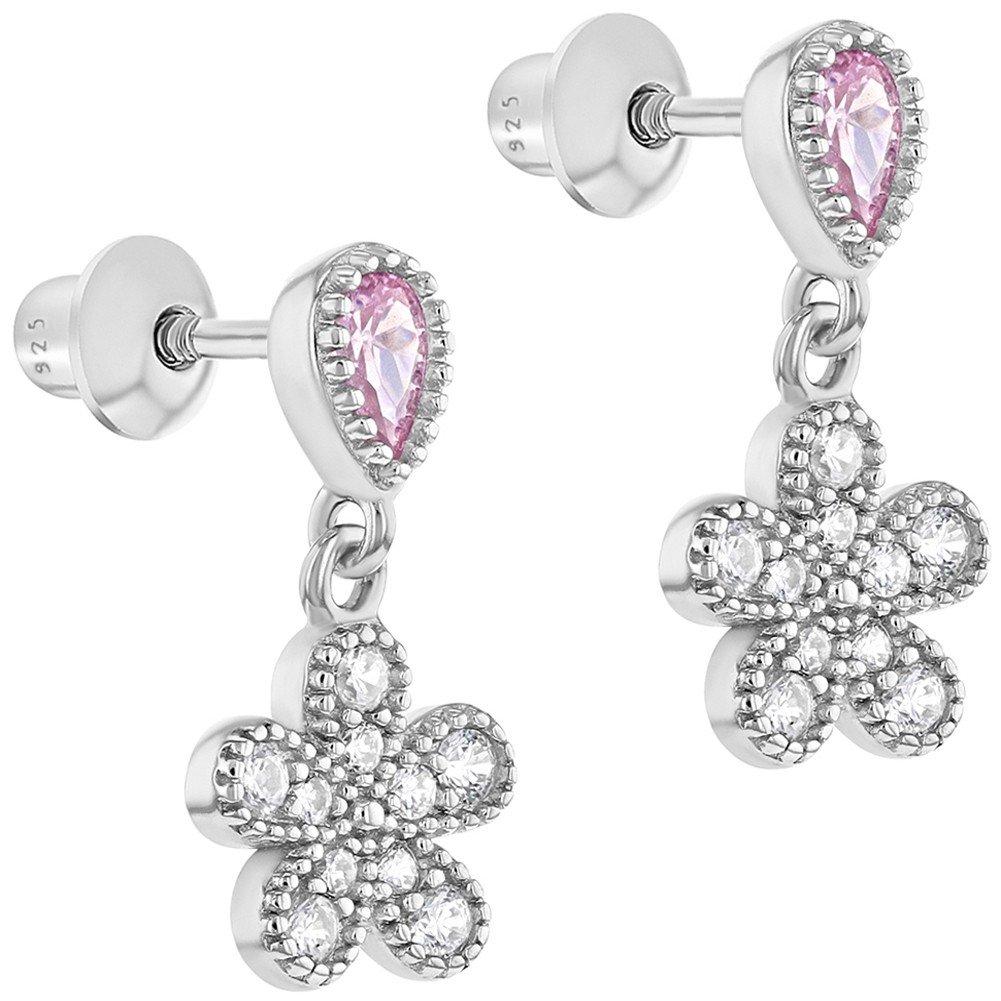 Boucles d/'oreilles pendantes /à fermoir /à vis en argent sterling 925/en forme de fleurs avec oxyde de zirconium rose en forme de larme
