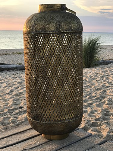 The Moroccan Temple Lantern, Tall Cylinder Construction, Dome Top And Loop Handle, Criss-Cross Open Metal Work, Over 3 Ft Tall, By Whole House Worlds