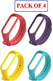 TOTU M3 Silicone Smart Band Wristband for Xiaomi Mi Band 3 Watch Strap for Mi3 Band Strap Colorful M3 Band 3 Strap watchband Bracelet Smart Accessories Combo Pack (Set of 4d)