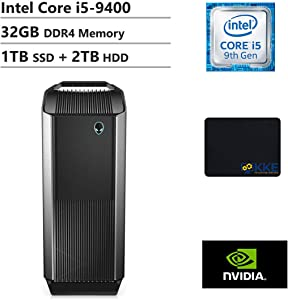 2020 Alienware Auaora R8 Tower Gaming Desktop PC, Intel Core i5-9400, NVIDIA GeForce GTX 1650, 32GB DDR4 Memory, 1TB PCIe Solid State Drive + 2TB HDD, WiFi, HDMI, KKE Mousepad, Black