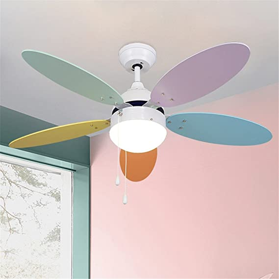 Modern Simple Macaron Ceiling Lamp With Fan Kids Room Bedroom Living Room Wood Fan Leaf Colorful Lamp Deco Pendant Lamp Lights & Lighting Ceiling Lights & Fans