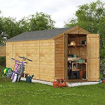 Billyoh 16x6 Overlap Wooden Garden Shed Double Door Windowless Apex