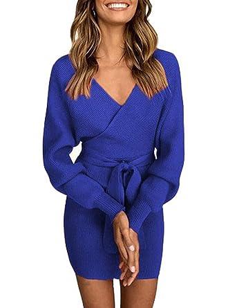 9b7c647e9926 ASSKDAN Femme Elégant Robe Pull Tricoté Col V Croisé Manche Longue Robe  Crayon avec Ceinture  Amazon.fr  Vêtements et accessoires