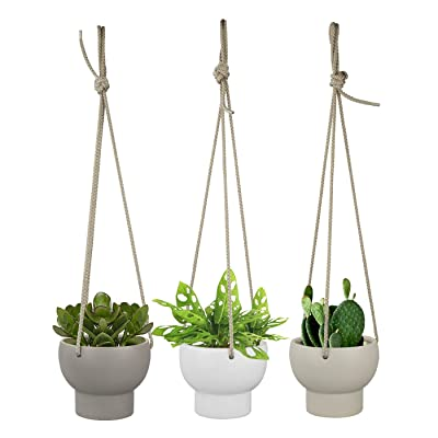 Ceramic Hanging Succulent Planters - 4.5 Inch Hanging Pots for Indoor Herb Garden Cactus Flower Small Plant, Set of 3 (White, Greige and Dark Grey): Garden & Outdoor