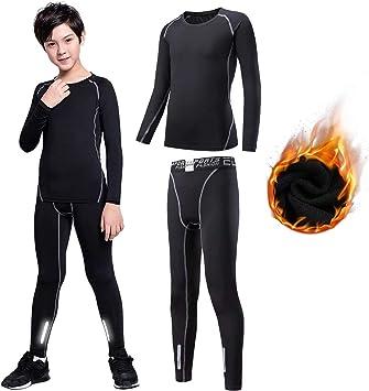 Sillictor - Calzoncillos largos deportivos para niños con capa de base térmica, pantalones y camisas de compresión, unisex, cálidos, transpirables: Amazon.es: Deportes y aire libre