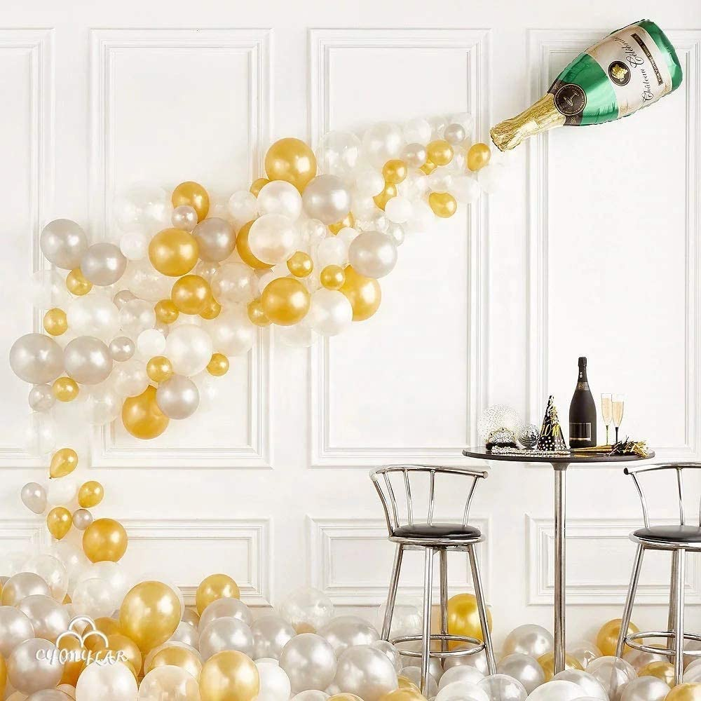 BerkleyBerreira Champagne Bottle and Bubbles Wall Balloon Adult Party Decor Kit, 183 Pieces