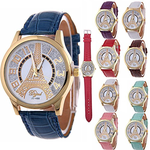 Yunanwa 10 Pack Bling Rhinestone Women Dress Watches Quartz Leather Strap Eiffel Tower Wholesale