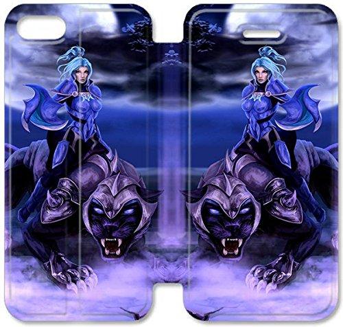 Flip étui en cuir PU Stand pour Coque iPhone 5 5S, bricolage 5 5S étui de téléphone cellulaire défense de l'étui en cuir Anciens Dota Luna Z9V4LN Coque iPhone de protection unique
