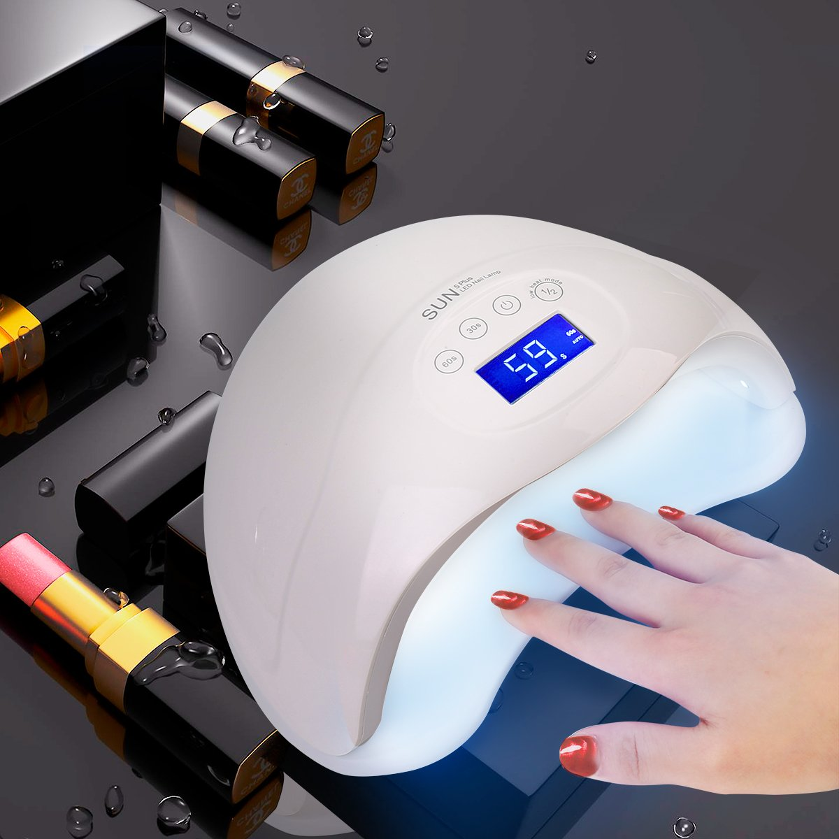48W LED Curing Light Nail Art Lamp For Dry Nail with 30s, 60s, 99s Time Settings and LCD Screen Touch control for All Gels Polishes En-Fun