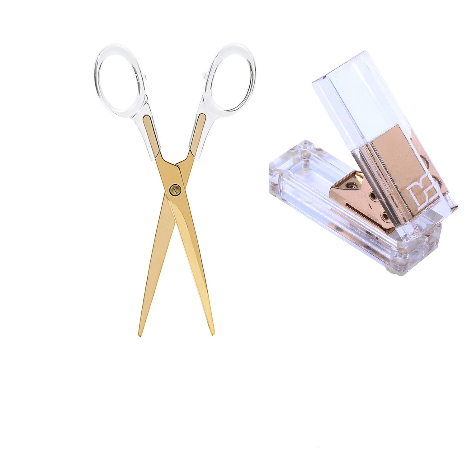 Acrylic Gold Single Hole Punch and Scissors by Draymond Story - All Gold Everything Desk Stationery
