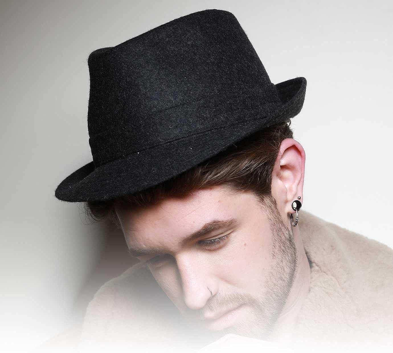 Classic Italy Mens Trilby Feutre Wool Felt Trilby Hat Size 63 Cm Black