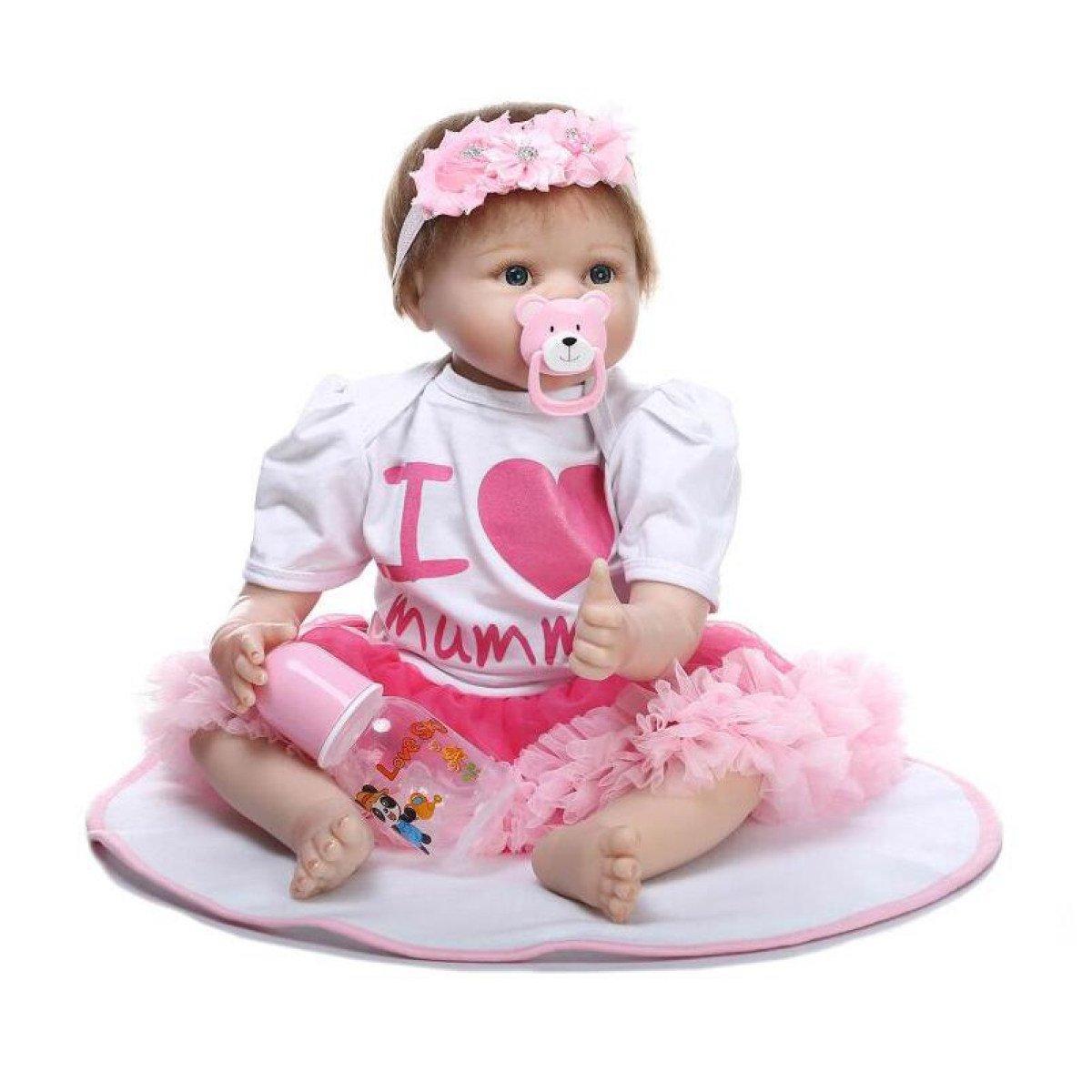 Yihangシリコンビニール人形Eyes Open Boy 22インチRebornボディ磁気口フルAlive Baby Realビニールベリーキッズおもちゃ子供誕生日ギフト   B07BP2G6YM
