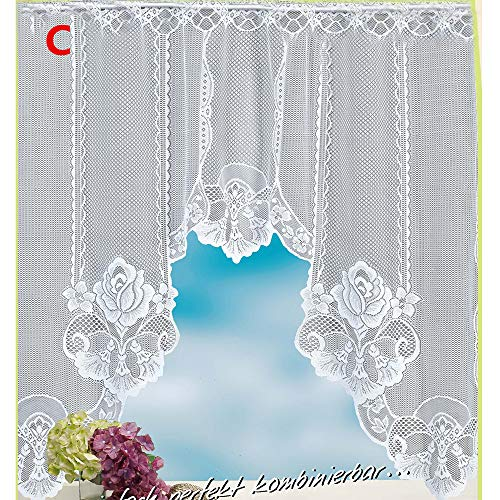 Hot Sale!DEESEE(TM)Vintage Style Lace Coffee Curtain Kitchen Curtain Vintage Style Window Scarf (C)