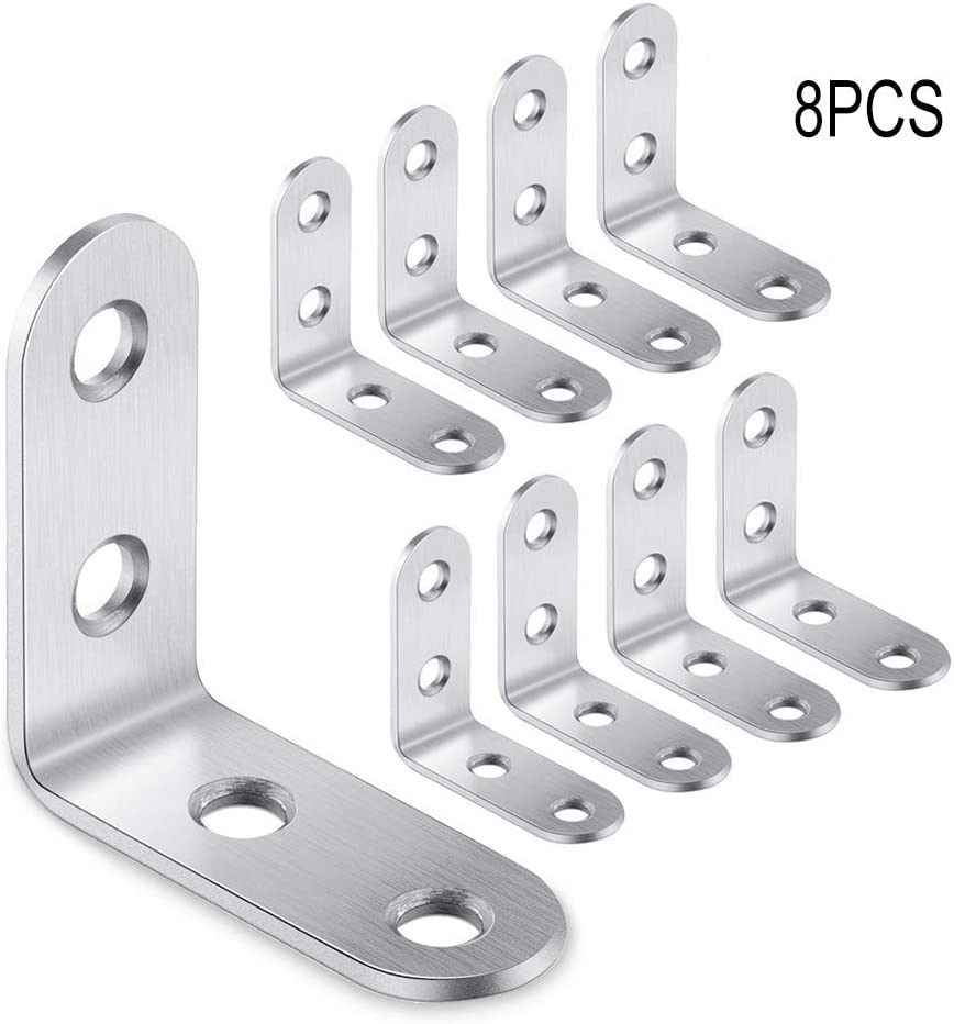 BE-TOOL Stainless Bracket 8pcs Angle Bracket Durable Easy Install L Bracket for Wood Shelf Cabinet Chair Table Not Screws 30mm*30mm