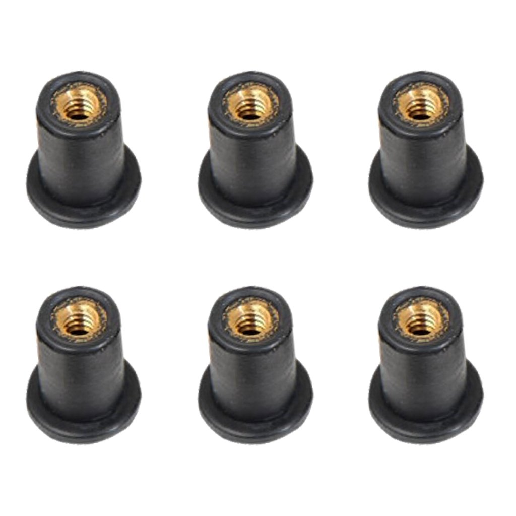 MagiDeal 6 Pieces M5 Metric Rubber Grommet Rubber Well Nuts Blind Fastener Windscreen Wellnuts Kayak Accessories