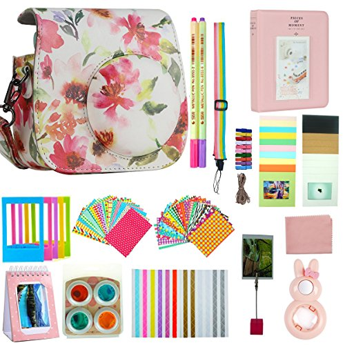 Anter 17 in 1 Instax Mini 9 Mini 8 Mini 8+ Accessories for Fujifilm Instax Instant Film Camera (Pink Flower A)