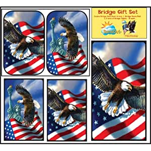 Bridge Gift Set - In the Wild - Large Print Double Deck Playing Cards - Score Pad - 2 Sets of Tallies