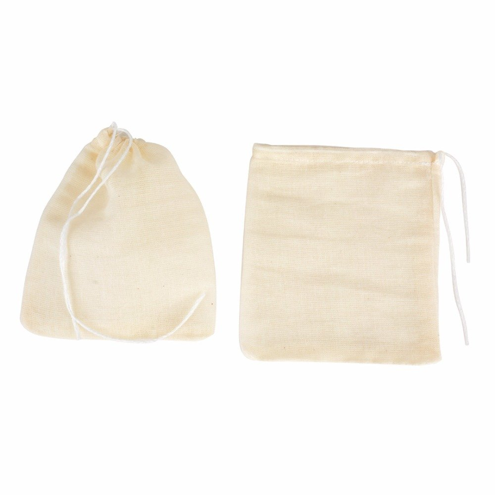 FomCcu 10Pcs Cotton Muslin Drawstring Reusable Bags for Soap Herbs Tea 8cm x10cm Large