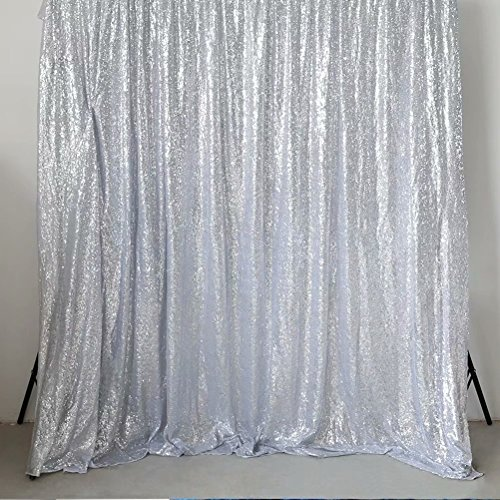 GFCC Silver 8x10ft Sequin Backdrop Wedding Party Christmas Decoration Home Favors Photo Booth Backdround (Silver 8 Panel)