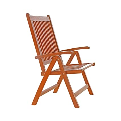 Vifah V145 Outdoor Wood Folding Arm Chair With Multiple Position Reclining  Back, Natural Wood