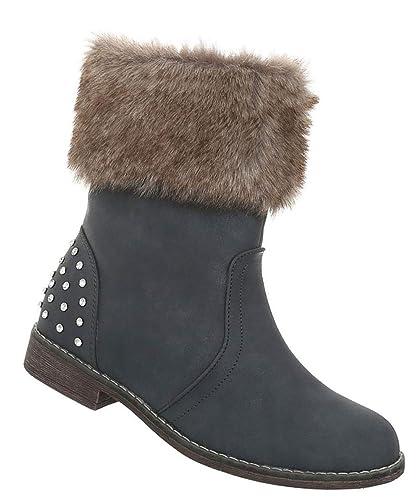 Damen Schuhe Stiefeletten   Strass Halbschaft Boots