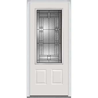 National Door Company ZA21442L 3/4 Lite 2 Panel Roman Decorative Glass  Steel,