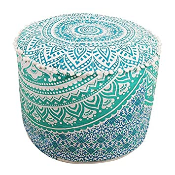 Miraculous Indian Mandala Hippie Bohemian Tapestry Pouf Ottoman Handmade Pouf Cover Decorative Round Floor Pillow Foot Stool Seating Pouf Home Decor Chair Cover Machost Co Dining Chair Design Ideas Machostcouk
