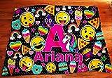Personalized Emoji Name blanket, Initial Blanket, Girls Name Blanket, Poop Emoji, Custom Girls Blankets, Emoji Room Decor, Pizza Blanket,