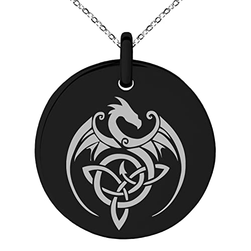 Amazon Black Stainless Steel Celtic Dragon Triquetra Symbol