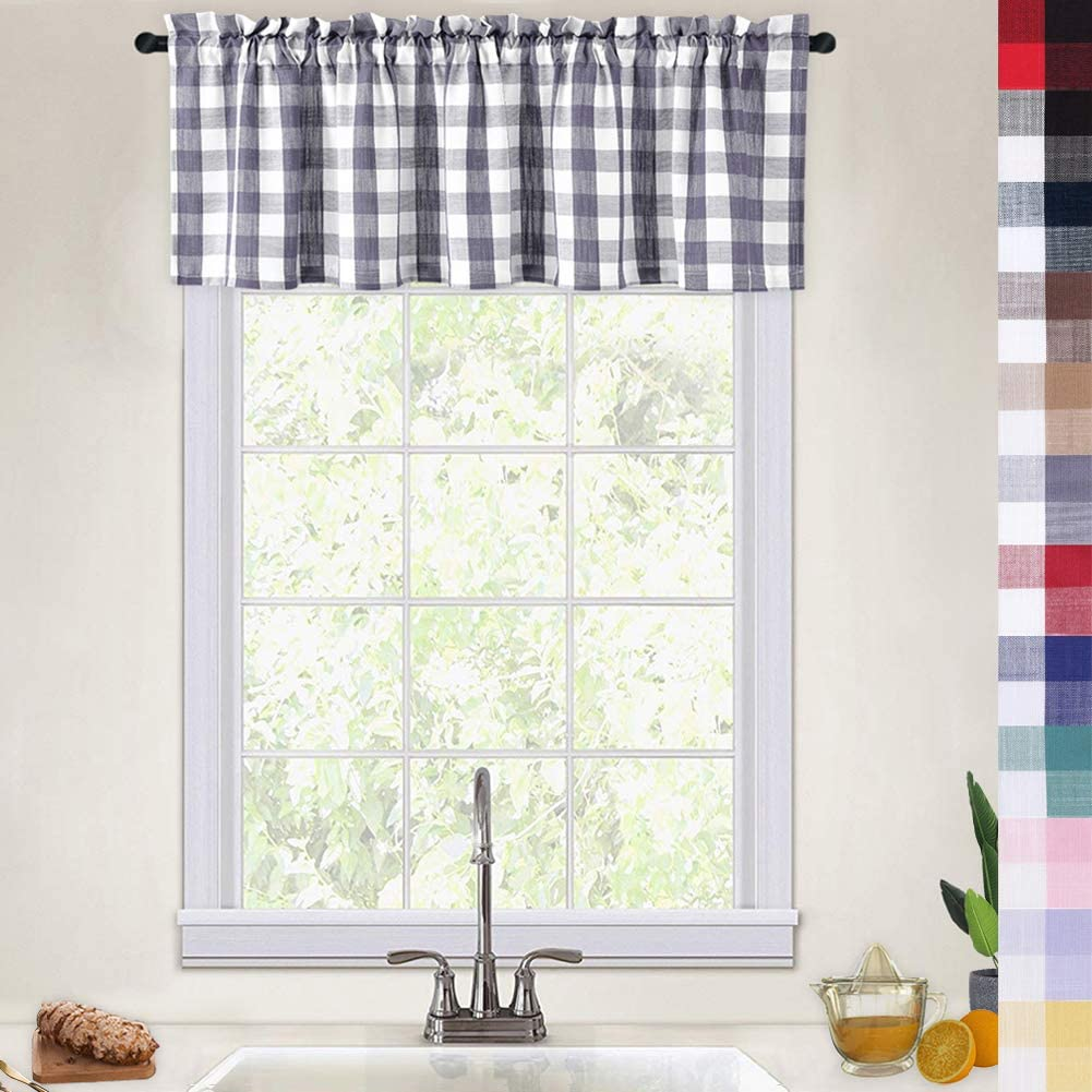 Checked kitchen curtain