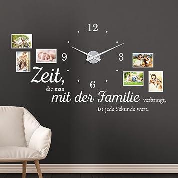 KLEBEHELD® Wandtattoo Uhr Familienzeit Mit Fotorahmen Und Spruch Für  Wohnzimmer Und Wohnbereich Farbe Beige,