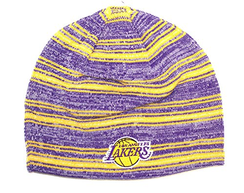 NBA Los Angeles Lakers Cuffless Winter Beanie Knit Hat Cap (One Size, Purple Gold)