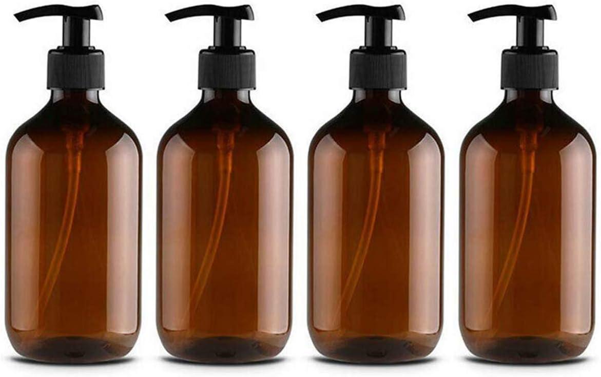 CAILI 4PCS Dispensador de jabón de plástico para baño, Cocina, Botella vacía para desinfectante de Manos, loción, champú, Gel de Ducha, plástico, marrón, 500 ml