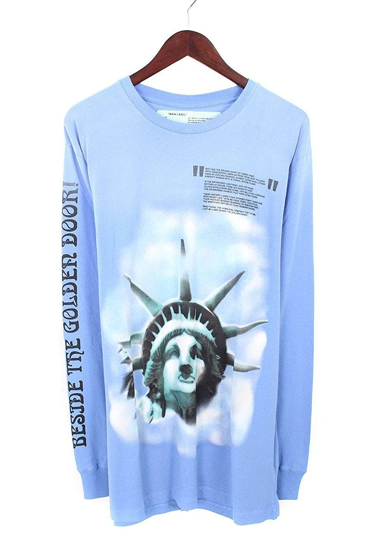 (オフホワイト) OFF-WHITE 【18AW】【BLUE LIBERTY L/S T-SHIRT】リバティープリント長袖カットソー(XL/ブルー) B07FQ3WQB8  -